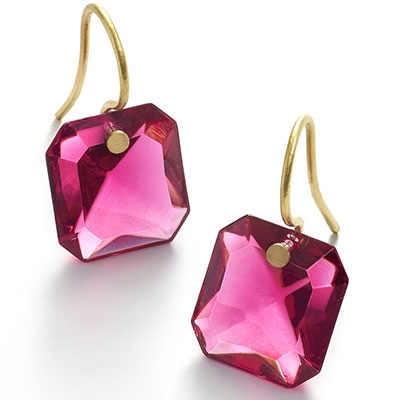 Baccarat Crystal Marie-Helene De Taillac Earrings Small Wire Vermeil Gold Peony