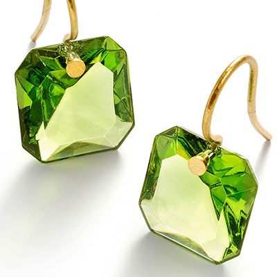Baccarat Crystal Par Marie Helene De Taillac Green Earrings, Pair
