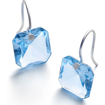 Baccarat Crystal Par Marie Helene De Taillac Light Blue Earrings, Pair