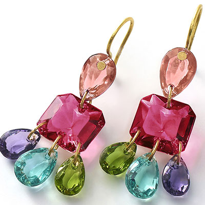 Baccarat Crystal Marie-Helene De Taillac Earrings Large Wire Vermeil Gold Multicolor