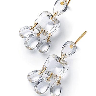 Baccarat Crystal Par Marie Helene De Taillac Clear Earrings, Pair