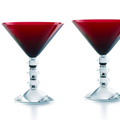 Baccarat Crystal, Vega Crystal Martini Red Crystal Glasses, Pair