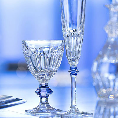 Baccarat Harcourt Eve 1841 Champagne Flutes with Blue Knob, Pair