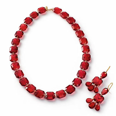 Baccarat Crystal A lOr Rouge and Gold Necklace, Earrings Set
