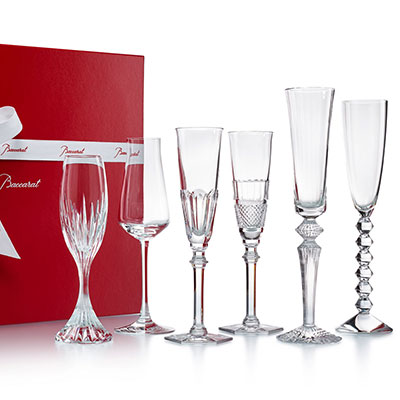 Baccarat Cocktail Champagne Flutes Bubble Box, Boxed Set of Six