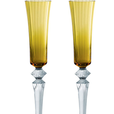 Baccarat Crystal, Mille Nuits Flutissimo Amber, Boxed, Pair