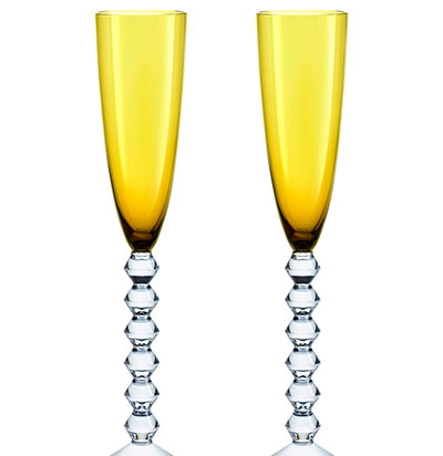 Baccarat Crystal, Vega Flutissimo Crystal Flute Amber, Pair