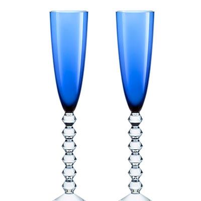 Baccarat Crystal, Vega Flutissimo Crystal Flute Blue, Pair