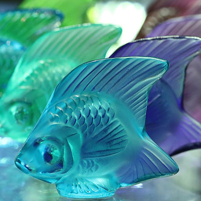 Lalique Crystal, Pale Blue Fish Sculpture