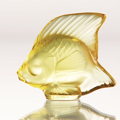 Lalique Crystal, Yellow Gold Fish Sculpture