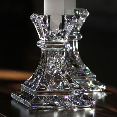 """Waterford Giftology Lismore 4"""" Candlestick, Pair"""