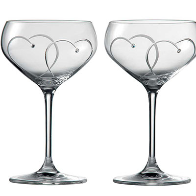 Royal Doulton Promises Two Hearts Entwined Champagne Saucer, Pair
