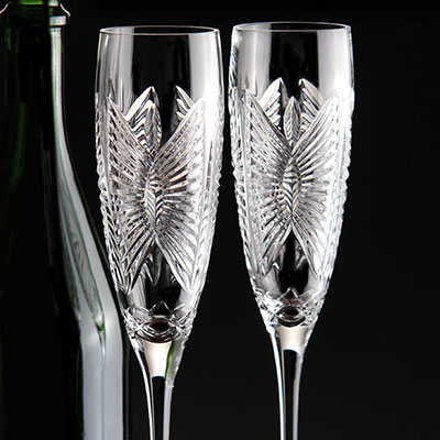 Waterford Crystal, Love Happiness Crystal Flutes, Pair