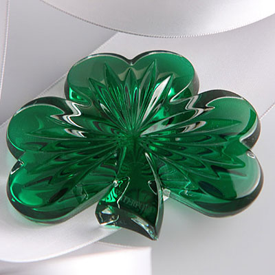 Waterford Crystal, Green Shamrock Crystal Paperweight