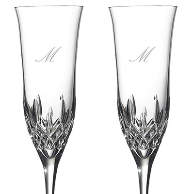 Waterford Crystal, Lismore Essence Toasting Crystal Flutes, Pair, Monogram Script M