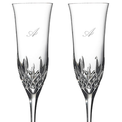 Waterford Crystal, Lismore Essence Toasting Crystal Flutes, Pair, Monogram Script A