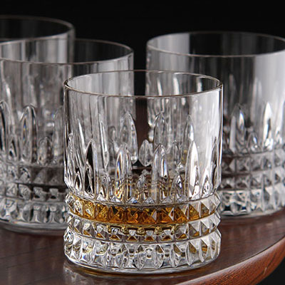 Waterford Crystal, Lismore Diamond Straight Sided Crystal Whiskey Tumblers, Set of Four