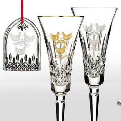 Waterford Crystal, 12 Days of Christmas Lismore Three French Hens Gold Crystal Flute, Single