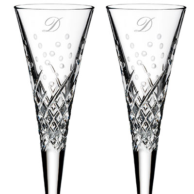 Waterford Crystal, Wishes Happy Celebrations Crystal Flutes, Pair, Monogram Script D