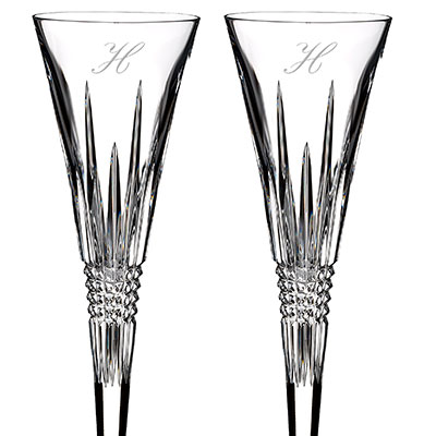 Waterford Crystal, Lismore Diamond Toasting Crystal Flutes, Pair, Monogram Script H