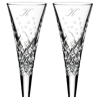 Waterford Crystal, Wishes Happy Celebrations Crystal Flutes, Pair, Monogram Script K