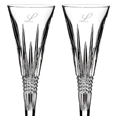 Waterford Crystal, Lismore Diamond Toasting Crystal Flutes, Pair, Monogram Script L