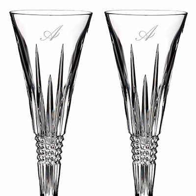 Waterford Crystal, Lismore Diamond Toasting Crystal Flutes, Pair, Monogram Script A