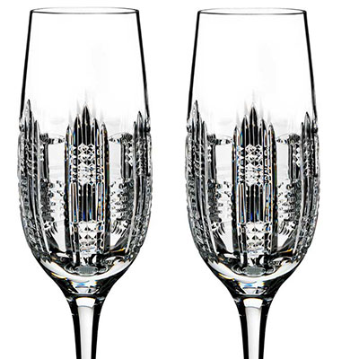 Waterford Crystal, Essentially Dungarvan Crystal Flutes, Pair