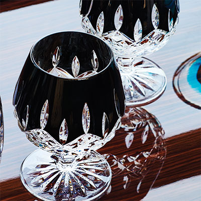 Waterford Crystal, Lismore Black Crystal Brandy, Pair