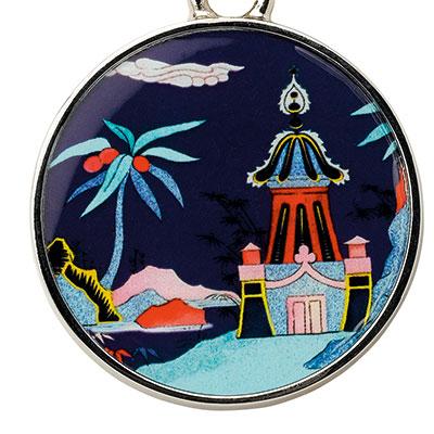Wedgwood Wonderlust Key Ring, Blue Pagoda