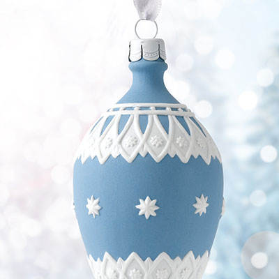 Wedgwood 2017 Neoclassical Teardrop Blue Ornament