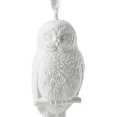 Wedgwood 2018 Figural Snowy Owl Christmas Ornament