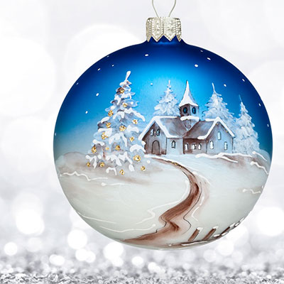 Waterford 2017 Holiday Heirloom Winter Frost Hand Painted Scene Ball Ornament
