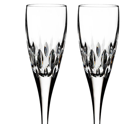 Waterford Crystal, Ardan Enis Champagne Crystal Flutes, Pair