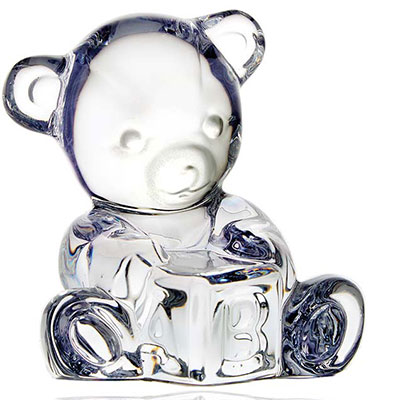 Waterford Crystal, Giftology Baby Bear on Block Crystal Paperweight
