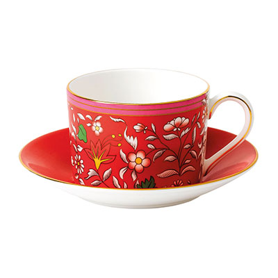 Wedgwood Wonderlust Fine Bone China Teacup and Saucer Set Crimson Jewel