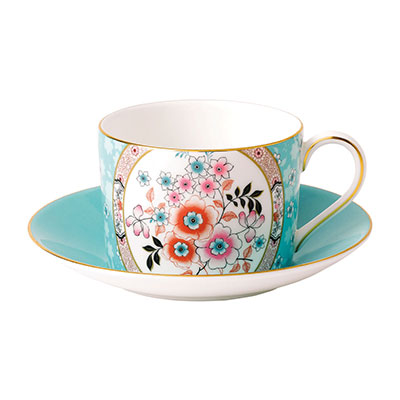 Wedgwood Wonderlust Fine Bone China Teacup and Saucer Set Camellia