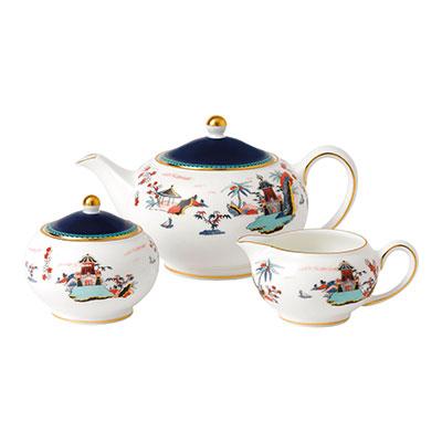 Wedgwood Wonderlust Fine Bone China 3-Piece Teaset S/S (Teapot, Sugar and Creamer) Blue Pagoda