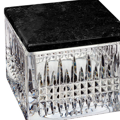 Waterford Crystal, Lismore Diamond Covered Box, With Marble Lid