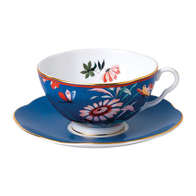Wedgwood China Paeonia Blush Teacup and Saucer Set Blue