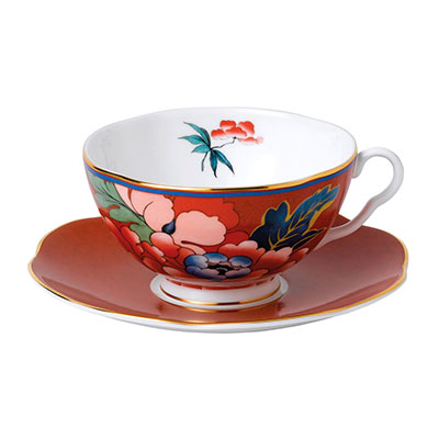 Wedgwood China Paeonia Blush Teacup and Saucer Set Red