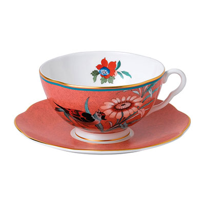 Wedgwood China Paeonia Blush Teacup and Saucer Set Coral