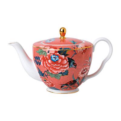 Wedgwood China Paeonia Blush Teapot Coral