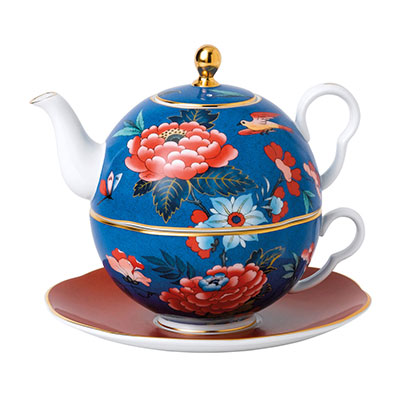 Wedgwood China Paeonia Blush Tea For One, Blue and Red
