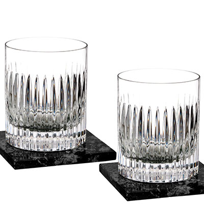 Waterford Crystal, Aras DOF Tumblers With Marble Coasters, Pair