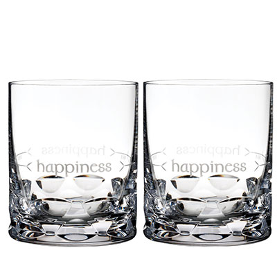Waterford Crystal, Ogham Happiness Crystal DOF Tumbler, Pair