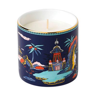 Wedgwood China Wonderlust Blue Pagoda Candle, Lotus and White Jasmine