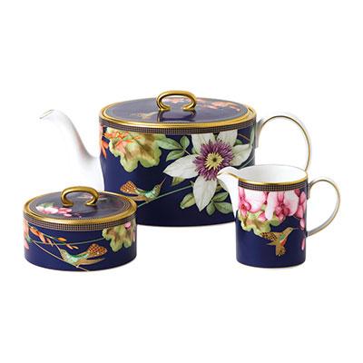 Wedgwood China Hummingbird 3 Piece Tea Set, Teapot, Sugar and Creamer