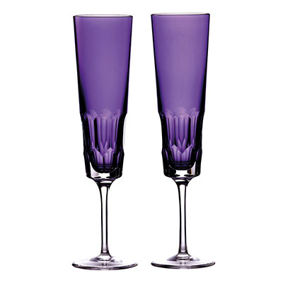 Waterford Crystal Jeff Leatham Icon Amethyst Flute Pair