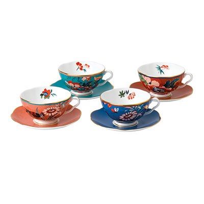 Wedgwood China Paeonia Blush Teacup and Saucer Set of 4, Blue, Coral, Green and Red